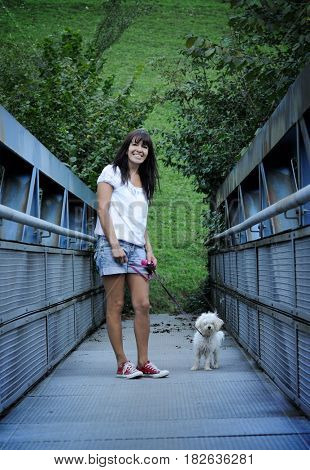cheerful woman with cute dog
