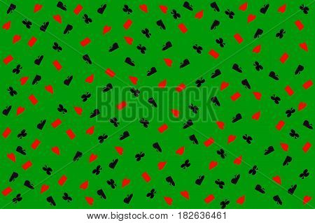 Poker background.Set of four card suits on green casino felt.