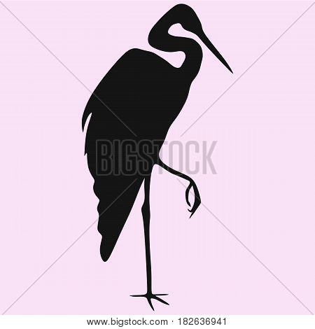 heron vector silhouette isolated on pink background
