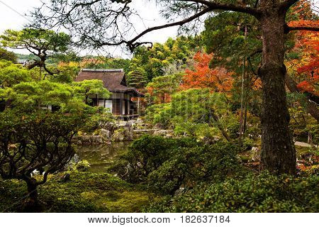 Kyoto Silver Pavillion or Ginkaku-ji temple at autumn Japan