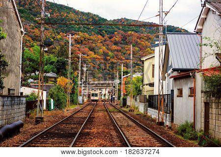Railway In Arashiyama Urban City At Autumn