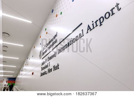 New York March 28 2017: US Customs and Border Protection sign on a wall of JFK's terminal 5 in the international arrivals area.