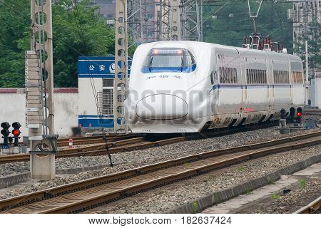Sichuan, China - Jun 08 2015: China Railways Crh2A In Chengdu Railway Station, Sichuan, China. Crh2A