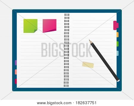 Open blank note book with some stickies and pencil isolated on a white background - Vector