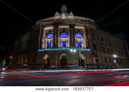 BERLIN - OCTOBER 08 2016: The Museum of Communication (during the time of the Kaiser - the imperial post office building) in evening lighting.