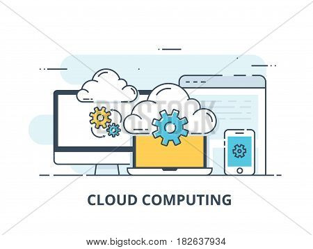 line design web banner for cloud computing services and technology, data storage. Vector illustration concepts for web design, marketing, and graphic design.