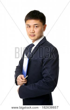 Handsome young Asian teacher on white background