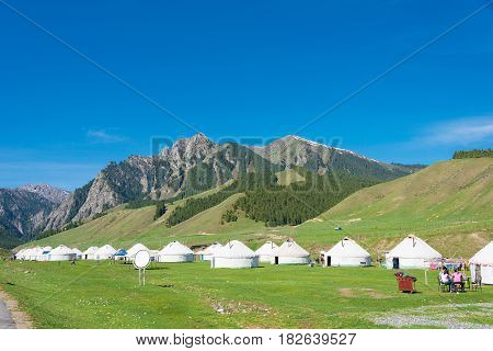 Xinjiang, China - May 10 2015: Nanshan Pasture. A Famous Landscape In Urumqi, Xinjiang, China.