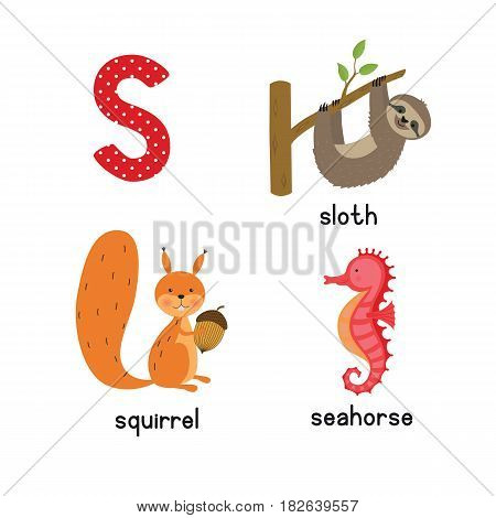 Cute zoo alphabet in vector.S letter. Funny cartoon animals: seahorse, squirrel, sloth. Alphabet design in a colorful style.