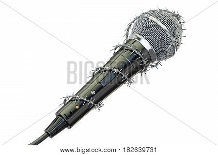 Freedom of speech and of the press prohibition concept. Microphone with barbed wire 3D rendering