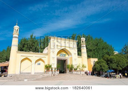 Xinjiang, China - May 24 2015: Id Kah Mosque. A Famous Historic Site In Kashgar, Xinjiang, China.