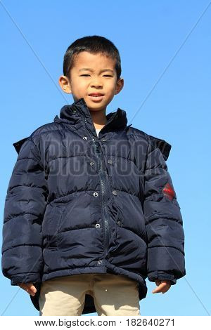 Japanese Boy Under The Blue Sky (first Grade At Elementary School) (winter Cloth)