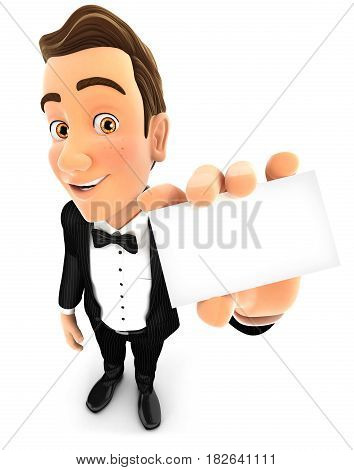 3d waiter holding company card illustration with isolated white background