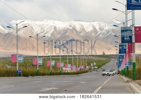 Xinjiang, China - May 21 2015: Karakoram Highway In Ancient Town Of Tashkurgan. A Famous Landscape O