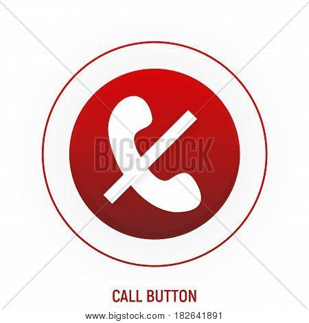 Phone red button for web site on white background