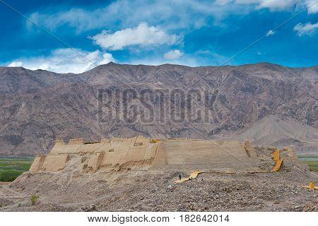 Xinjiang, China - May 21 2015: Stone City Site Of Tashkurgan. A Famous Historic Site On Pamir Mounta