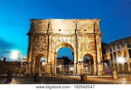 Night view of Arch of Constantine  in Rome Italy