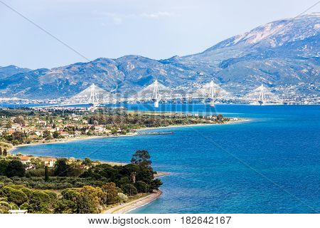 Rio Antirio Bridge, Patra, Gulf of Corinth, Peloponnese, Greece