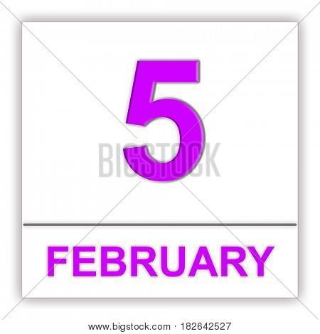 February 5. Day on the calendar. 3D illustration