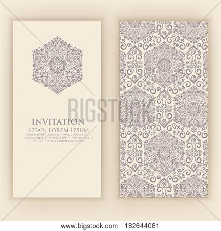 Wedding invitation and announcement card with vintage background artwork. Elegant ornate damask background. Elegant floral abstract ornament. Design template.