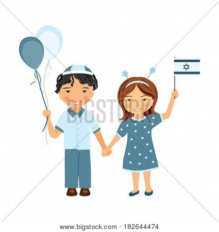 Yom Haatzmaut or Yom Yerushalayim. Israel independence day or Jerusalem day vector illustration. Kids on Israeli national holiday. Girl and boy with Israeli flag.