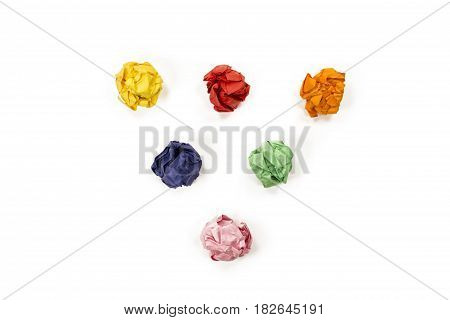 Colourful 6 piece wrinkled crumpled paper. Isolated