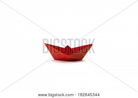 Red Paper ship. Isolated on white background