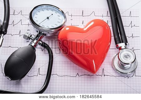 Cardiogram Of Heart Beat With Stethoscope Sphygmomanometer And Heart