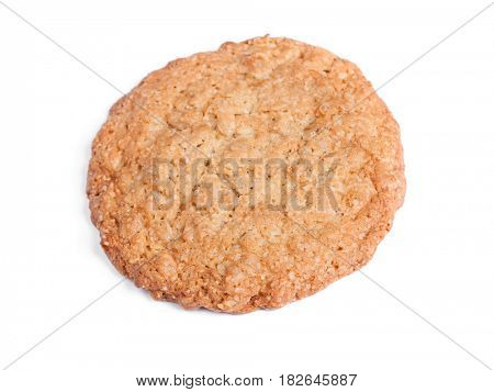 Big oatmeal cookie isolated on white background