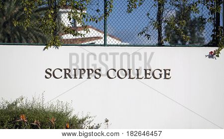 Claremont CA USA - April 17 2017: The sign welcoming visitors to Scripps College which is one of the 5 Claremont Colleges and is a women only liberal arts college.