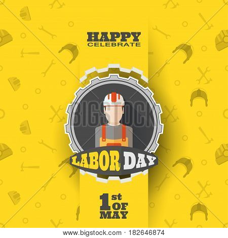 Vector poster of Happy Labor Day with label of gear cut from paper ribbon on the yellow background with pattern and cut paper shapes with shadow.