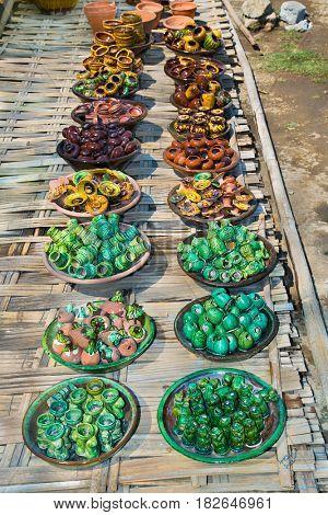 Traditional vase and jar at market in Nyaungshwe village , Myanmar. (Burma)