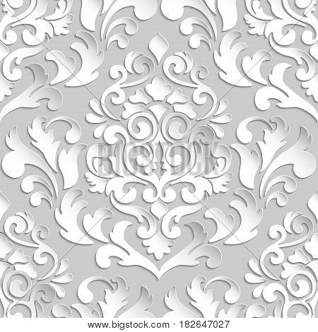 Vector damask seamless pattern element. Elegant luxury texture for wallpapers, backgrounds and page fill. 3D elements with shadows and highlights. Paper cut.