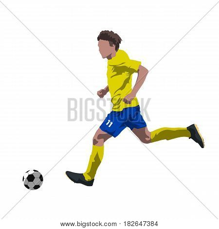 Soccer player running with ball abtract vector illustration. Summer team sport