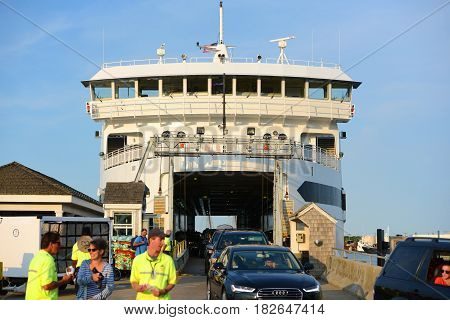 VINEYARD HEAVEN, MA, USA - JULY. 3, 2015: Martha's Vineyard Ferry Island Home at port of Vineyard Heaven in Martha's Vineyard, Massachusetts, USA.