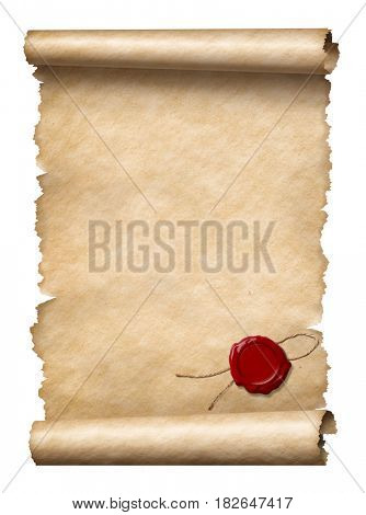 scroll with wax seal isolated on white 3d illustration
