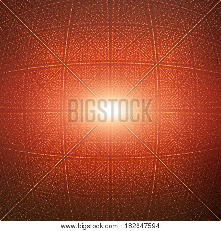 Vector infinite rhombic or square tunnel of shining flares on background. Glowing points form tunnel sectors. Abstract cyber colorful background for your designs. Elegant geometric wallpaper.