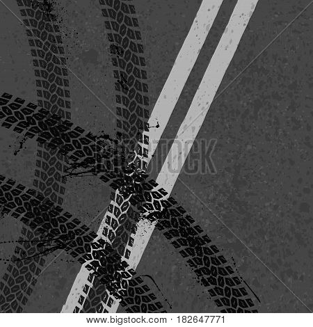 Grunge asphalt road with two white lines