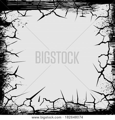 Gray background with black cracks and grunge frame
