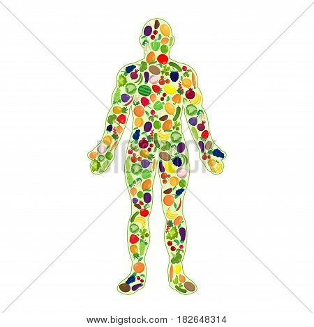 Abstract human silhouette with heathy fruit and vegetables