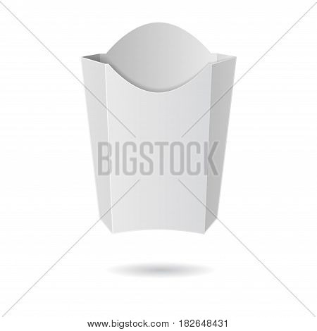 White paper package for fries isolated on white background