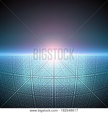 Vector infinite space background. Matrix of glowing stars with illusion of depth and perspective. Abstract cyber fiery sunrise over sea. Abstract futuristic universe on dark blue background.