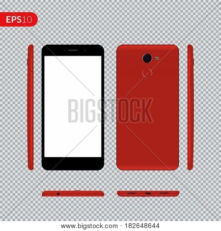 Smartphone, mobile phone on isolated background, Photo realistic vector illustrations modern phone with red color. Front, back and form the side view mockup template.