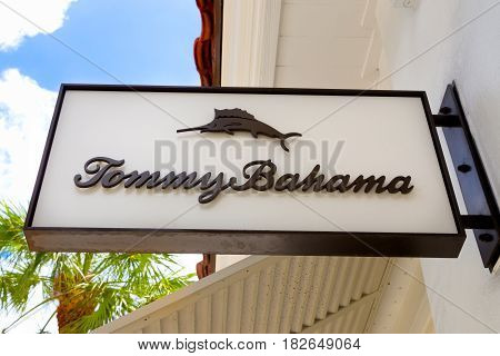 Tommy Bahama Clothing Store Sign And Logo.