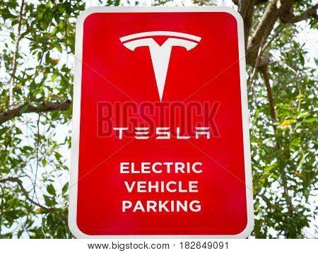 Tesla Electric Vehicle Parking Sign