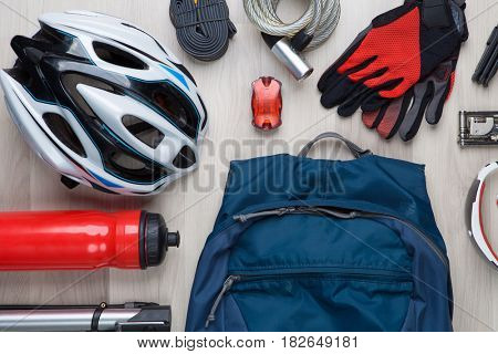 Cyclist accessories on empty background