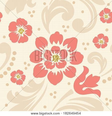 Vector flower seamless pattern element. Elegant texture for backgrounds. Classical luxury old fashioned floral ornament, seamless texture for wallpapers, textile, wrapping.