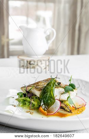 Fish Dish - Fillet Of Zander In Plate On The Table Near Window