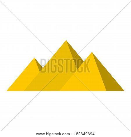 Egyptian Giza pyramids icon flat isolated on white background vector illustration