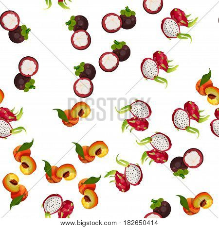 Very high quality original trendy vector seamless pattern with pitaya, mangosteen, peach, dragon fruit, exotic tropical fruit